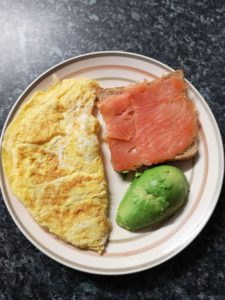 Egg with smoked salmon and avocado